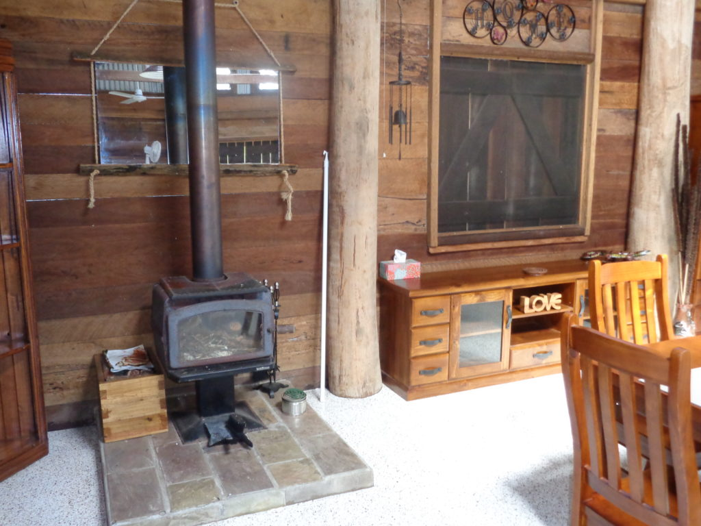 Wood Heater in Wompoo Cabin